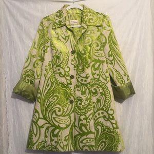 3 sisters green velvet print long coat blazer l